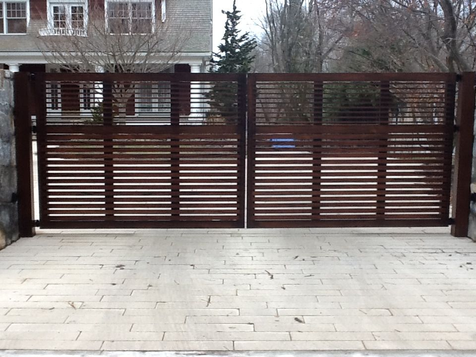 Double Driveway Gates In Westport Ct Riverside Fence