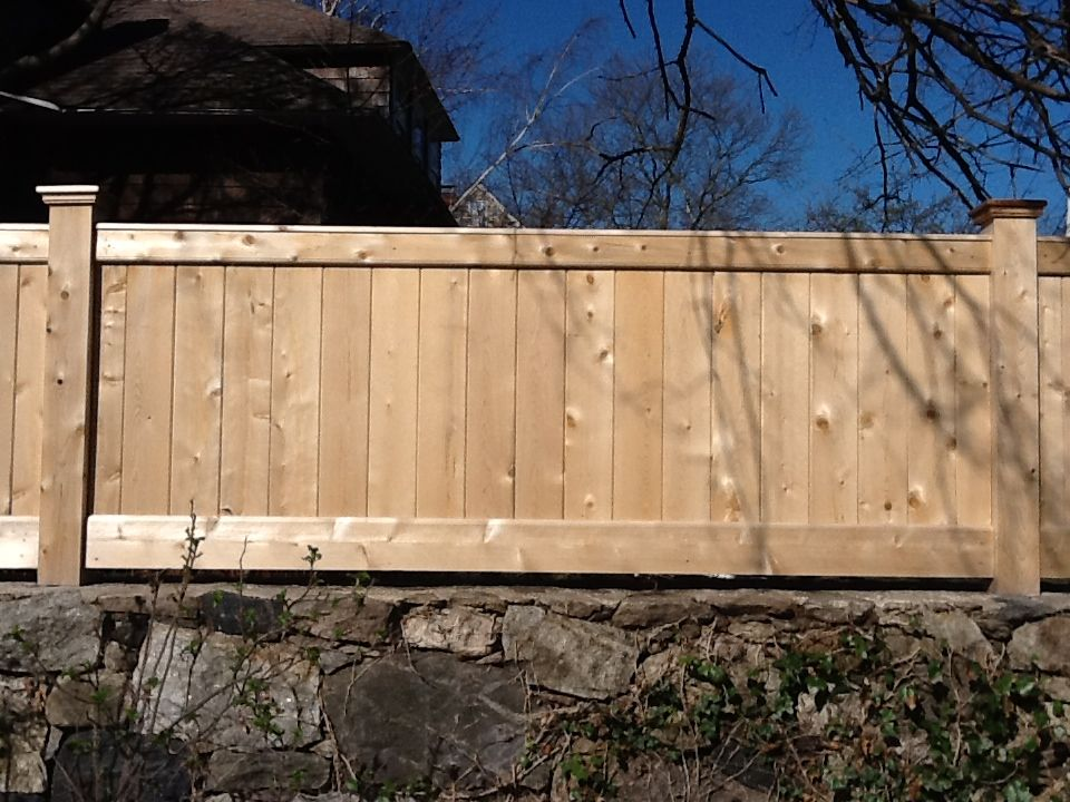 Riverside Fence 187 Cedar Tongue And Groove Stonewall Topper